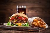 Detail domácí hamburgery