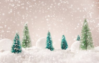 Christmas background with snowy landscape.