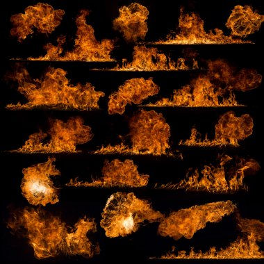 Fire flames collection on black background