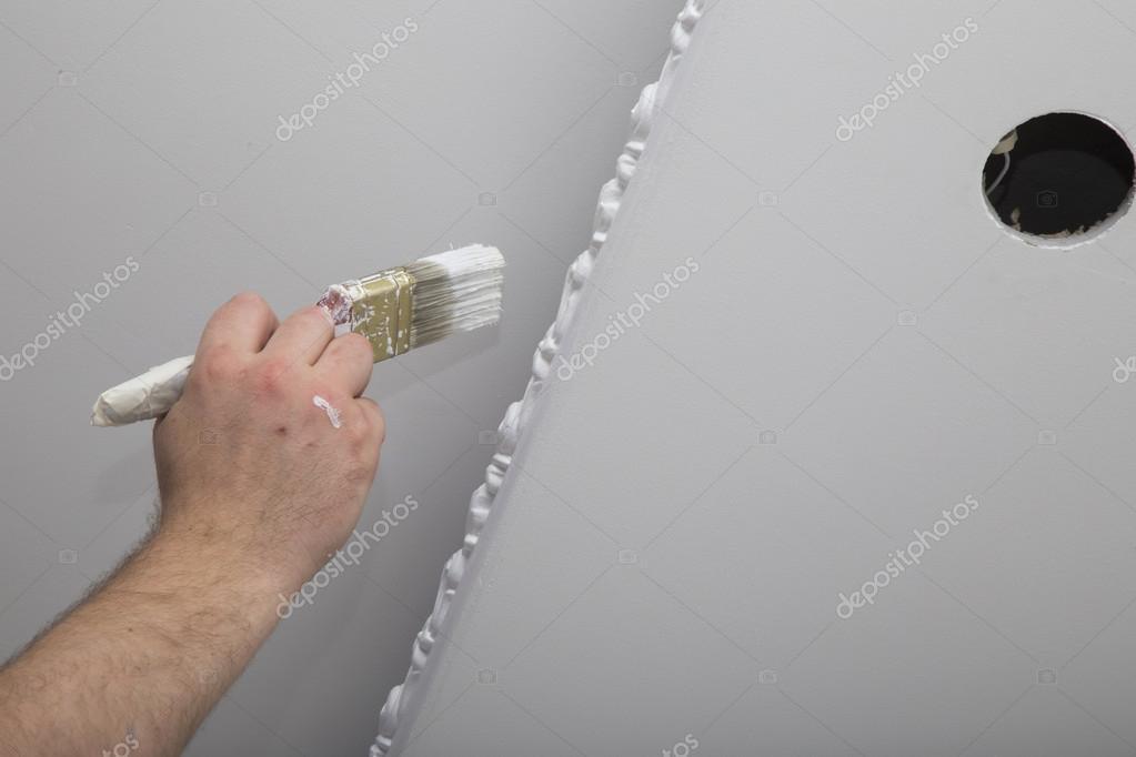 GroBartig Renovierung Von Haus Innen. Hand Mit Einem Pinsel U2014 Stockfoto