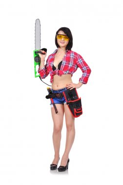 girl holding chainsaw