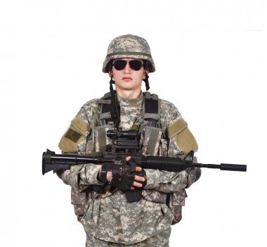 US soldier holding rifle