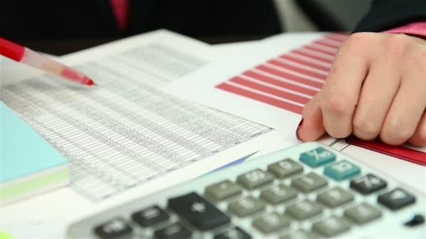 Businesswoman checking budget