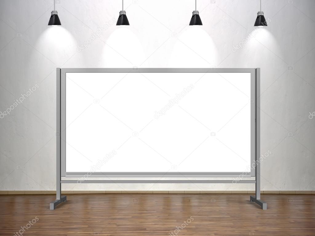 blank whiteboard standing in classroom with four lamp stock photo