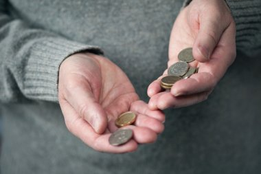 coins in hands closeup (Russian rubles)