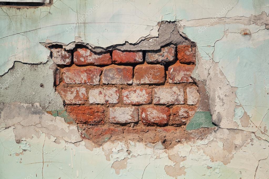 Grunge Background Mattone Parete Caduta Dell Intonaco Muro Di