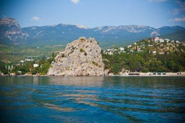 The Crimean landscape. Gursuf city, Black Sea, rocks