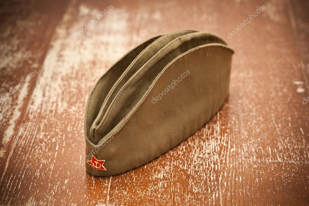 Victory Day on May 9. Garrison cap with a red star. Retro style. 70 Years of Victory