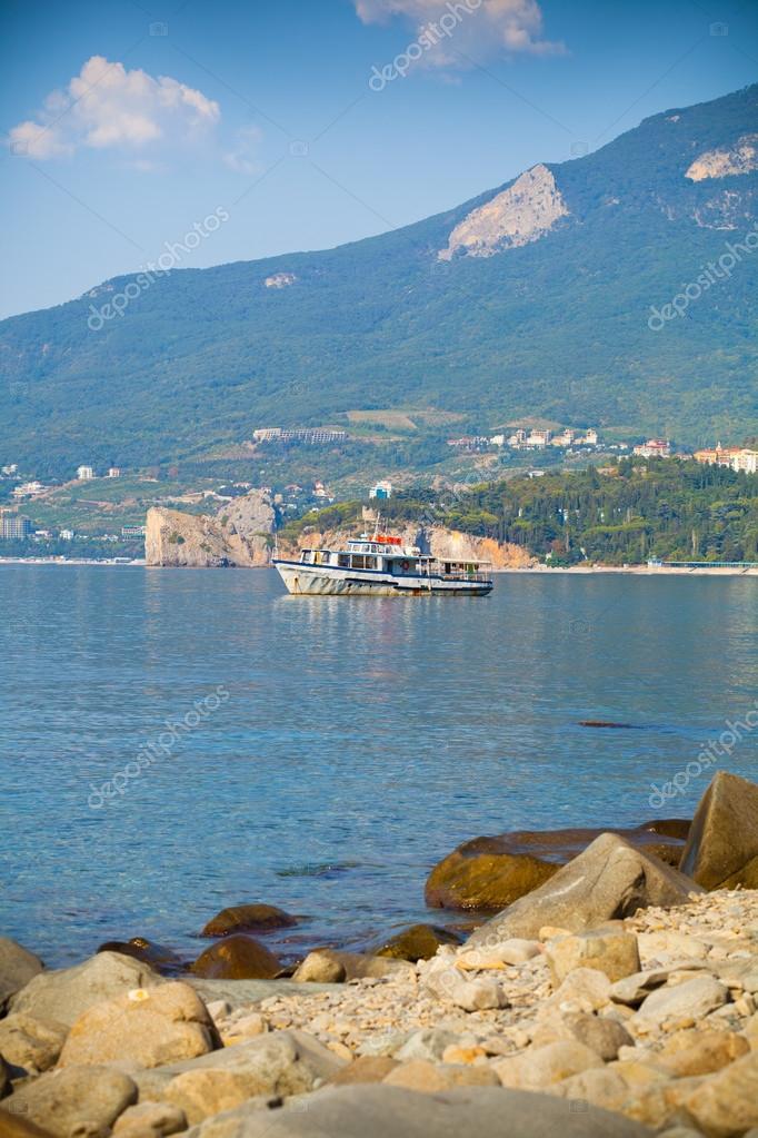 View of the city Gursuf in the Crimea, the Black Sea. Suburb of Yalta.