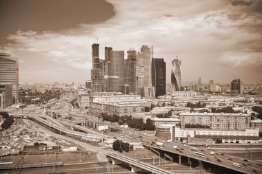 View of Moscow and a business center Moscow-City. Photo toned in sepia