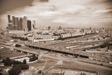 City of Moscow, the Third Ring Road and the business center Moscow-City. Photo toned in sepia