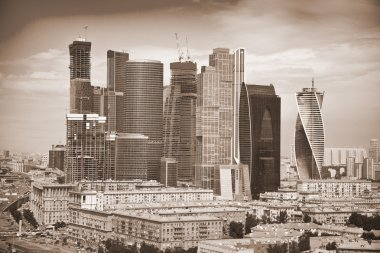 View of Skyscrapers International Business Center, Moscow, Russia. Photo toned in sepia