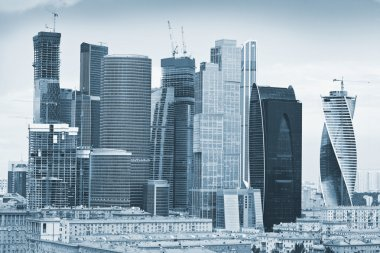 View of Skyscrapers International Business Center, Moscow, Russia. photo toned in blue color