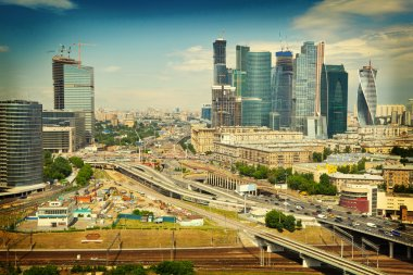 View of Moscow and a business center Moscow-City, highways