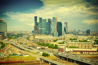 View of Moscow and a business center Moscow-City. Roads, railroad