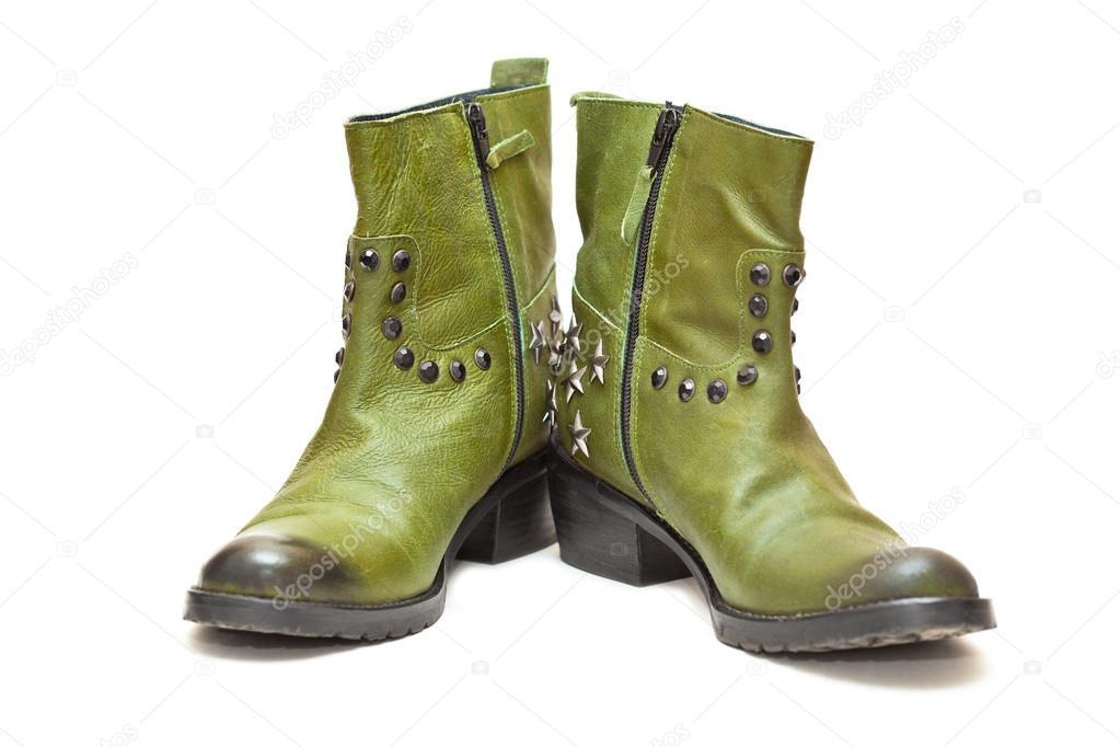 dccb858126 Női divat csizma zöld cowboy stílust. Őszi - tavaszi bőr cipő — Stock Fotó