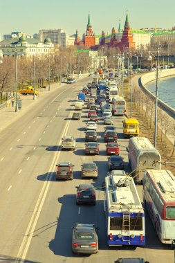 Moscow Kremlin, the traffic jam to the center