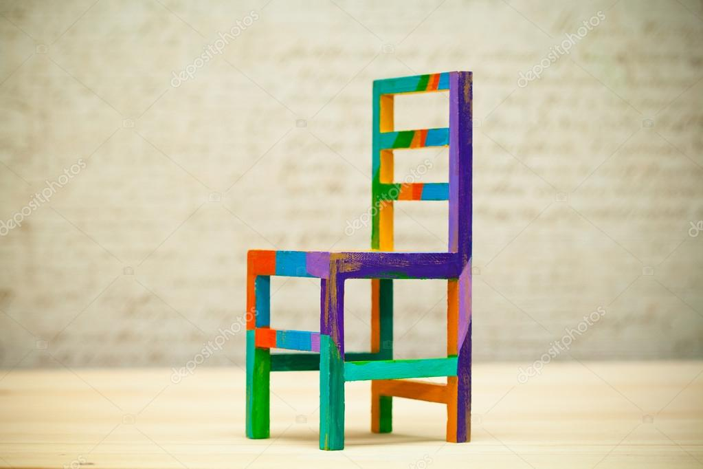 Excellent Toy Multicolored Wooden Chair Modern Art Handmade Stock Machost Co Dining Chair Design Ideas Machostcouk