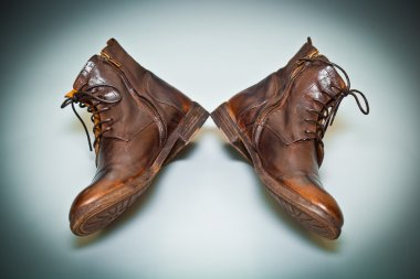 Cool men's leather shoes handmade. old school shoes top view. Vintage style
