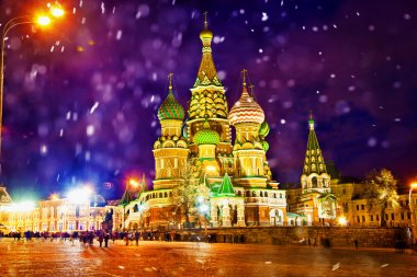 St. Basil's Cathedral in Moscow on Red Square at night winter