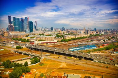 View from above to Moscow - Business Center Moscow City, roads, architecture. Life of the big city