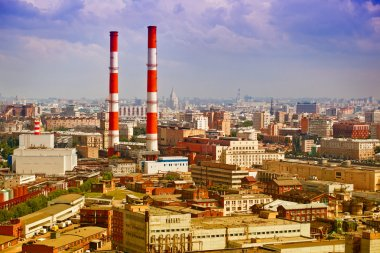 Industrial part of the city of Moscow - industrial architecture, plants, industrial pipes.