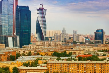 The central part of the city - the old buildings in Moscow and modern business center Moscow-City
