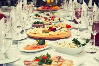 Festive table of salads and appetizers
