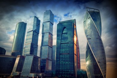 International business center Moscow-City in the evening at sunset, Moscow, Russia