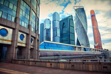 Business center Moscow City and Bagration Bridge. View of the downtown Moscow from the Taras Shevchenko embankment