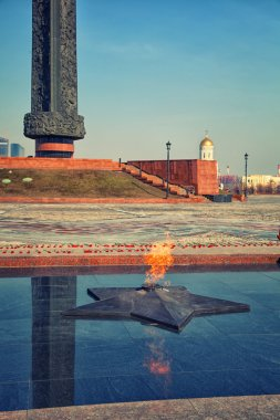 The eternal flame at the Poklonnaya Hill in Moscow. Symbol of Victory in Great Patriotic War