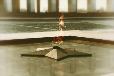 Eternal flame in memory of the Victory in the Great Patriotic War. vintage style