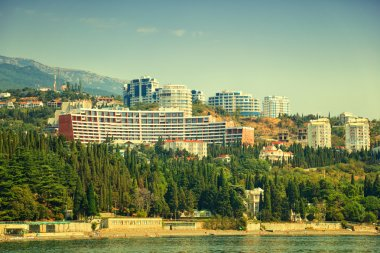 Hotels on the waterfront in the Crimea. Beach Black Sea