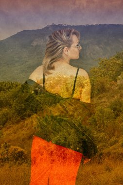 A girl stands with his back to the camera in a red skirt and a jacket on a background summer landscape. The effect of double exposure. photo collage