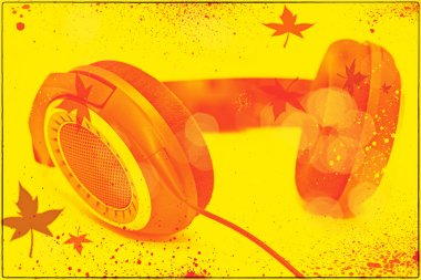 headphones on bright yellow background. Photo collage in the style of pop art