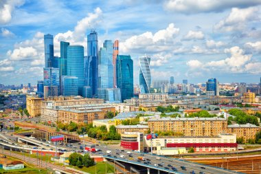 MOSCOW, RUSSIA - JULY 29, 2015: Business center Moscow-City is one of the largest construction projects in Europe