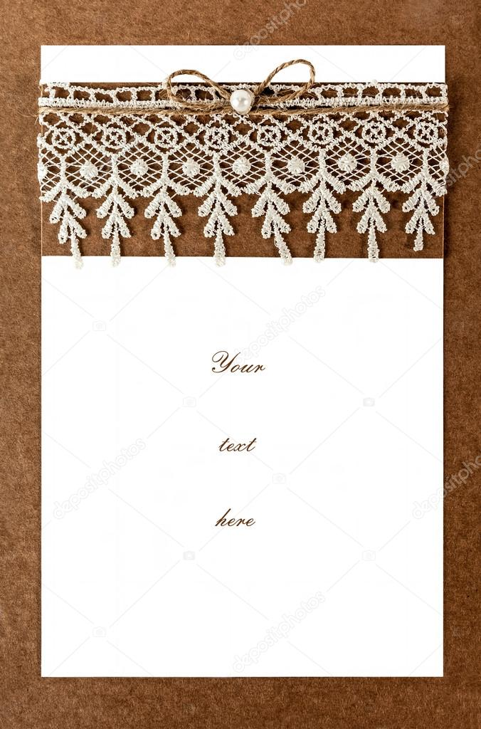 Blank Invitation Card For Ceremony Wedding Or A Party With