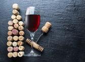 Wine corks in the shape of wine bottle.
