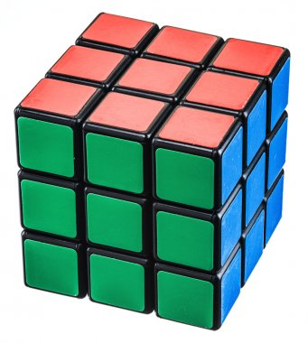 Rubik's Cube on a white background.