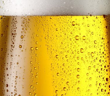 Misted glass of beer.