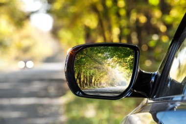 Reflection of autumn road at the rear view mirrow.