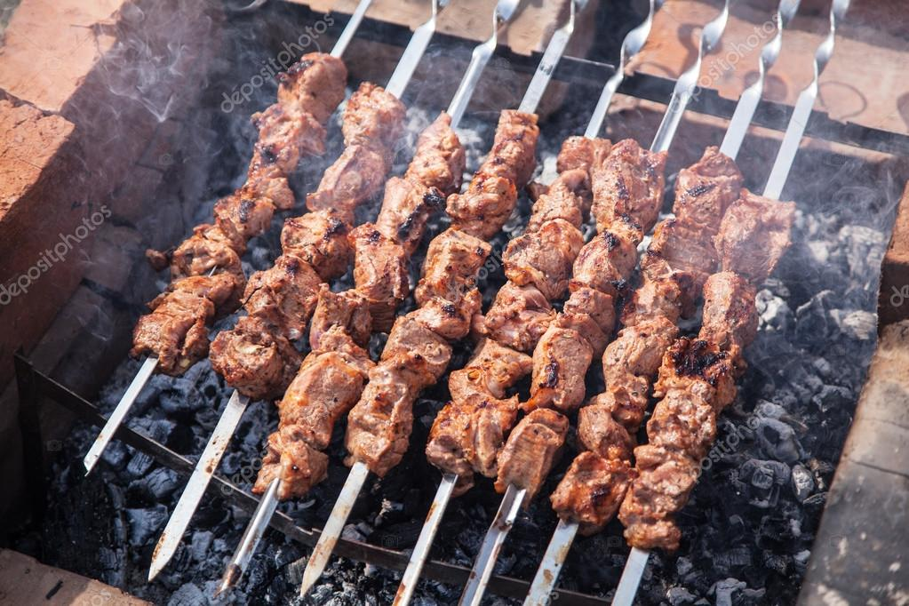 Shashlik. Cooking process.