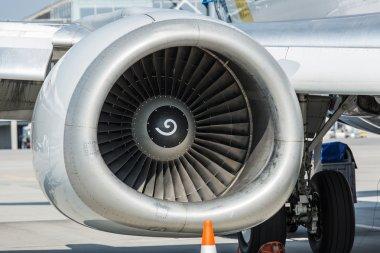 Airplane turbine. Closeup shot. stock vector
