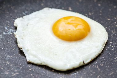 Fried egg in the frying pan.