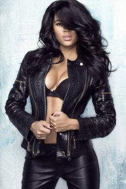Sensual woman in jacket
