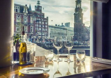 evening Amsterdam from restaurant