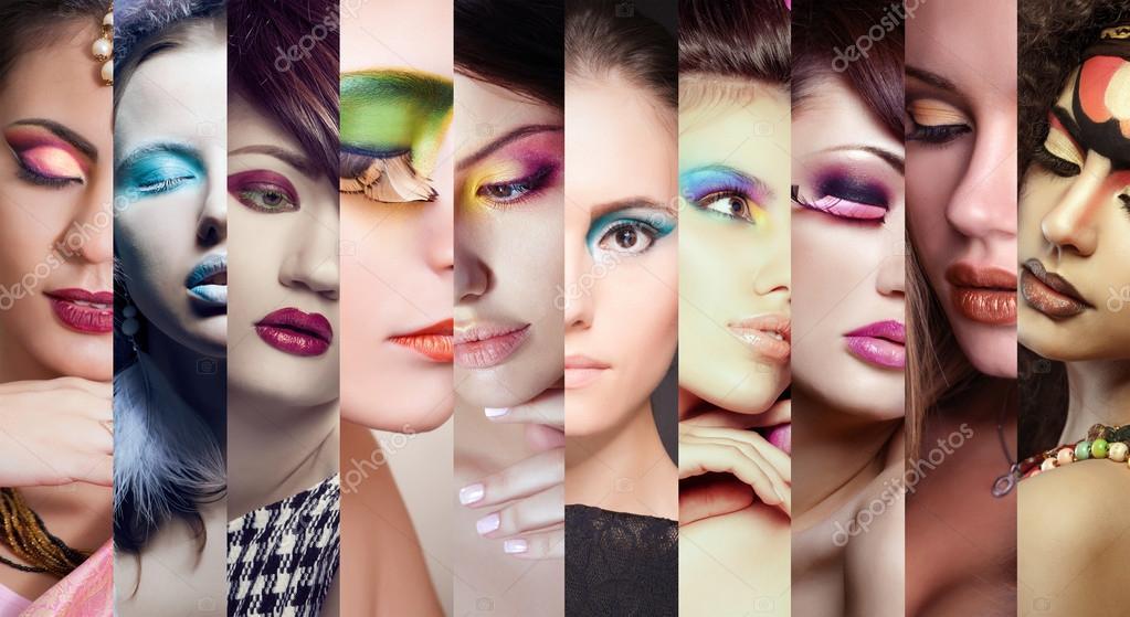 Collage De Belleza. Rostros De Mujeres. Foto De Moda