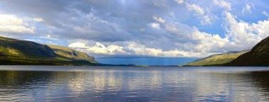 Panorama of the Lake Seydyavr behind the Arctic Circle on the Kola Peninsula