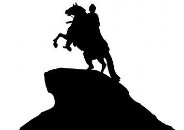 Horse monument on white background