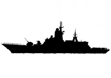 Military boat on white background
